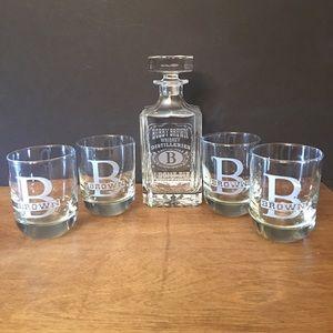 Custom carved Whiskey Decanter Sets